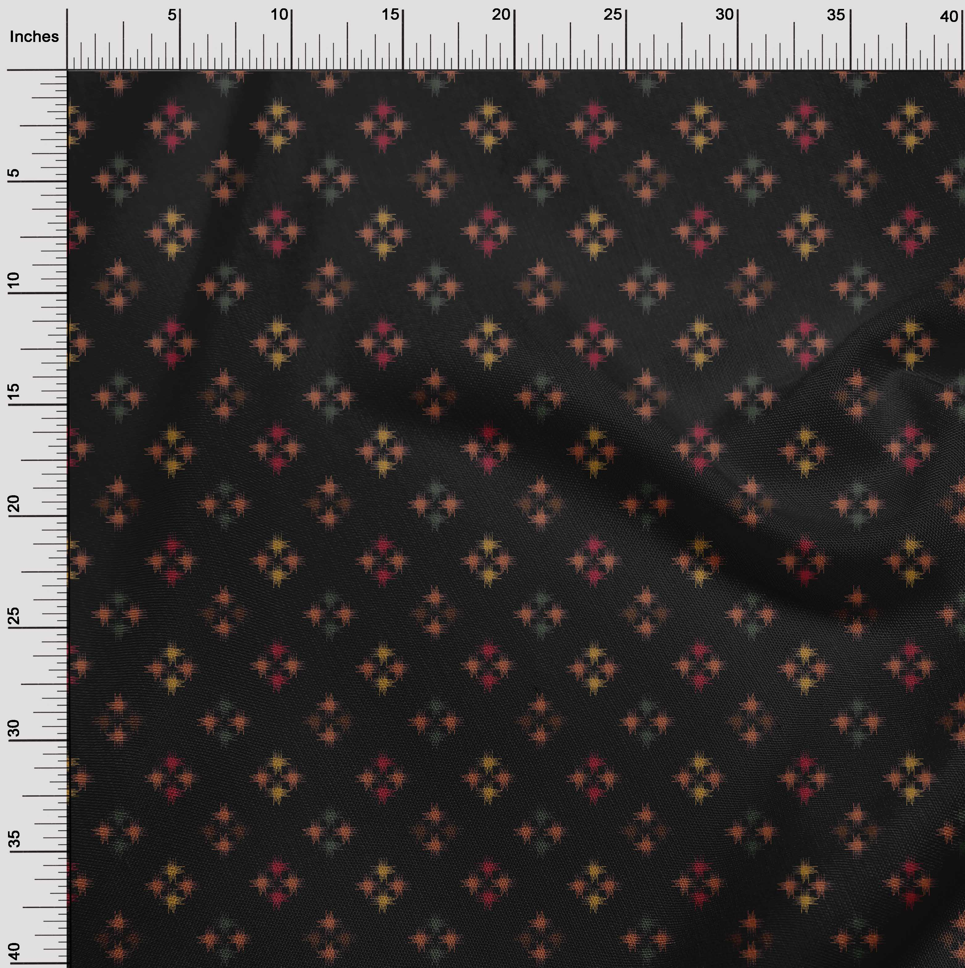 oneOone-geometrische-Linie-Ikat-Printed-Craft-Fabric-By-The-Meter-IK-1168A-5 Indexbild 4