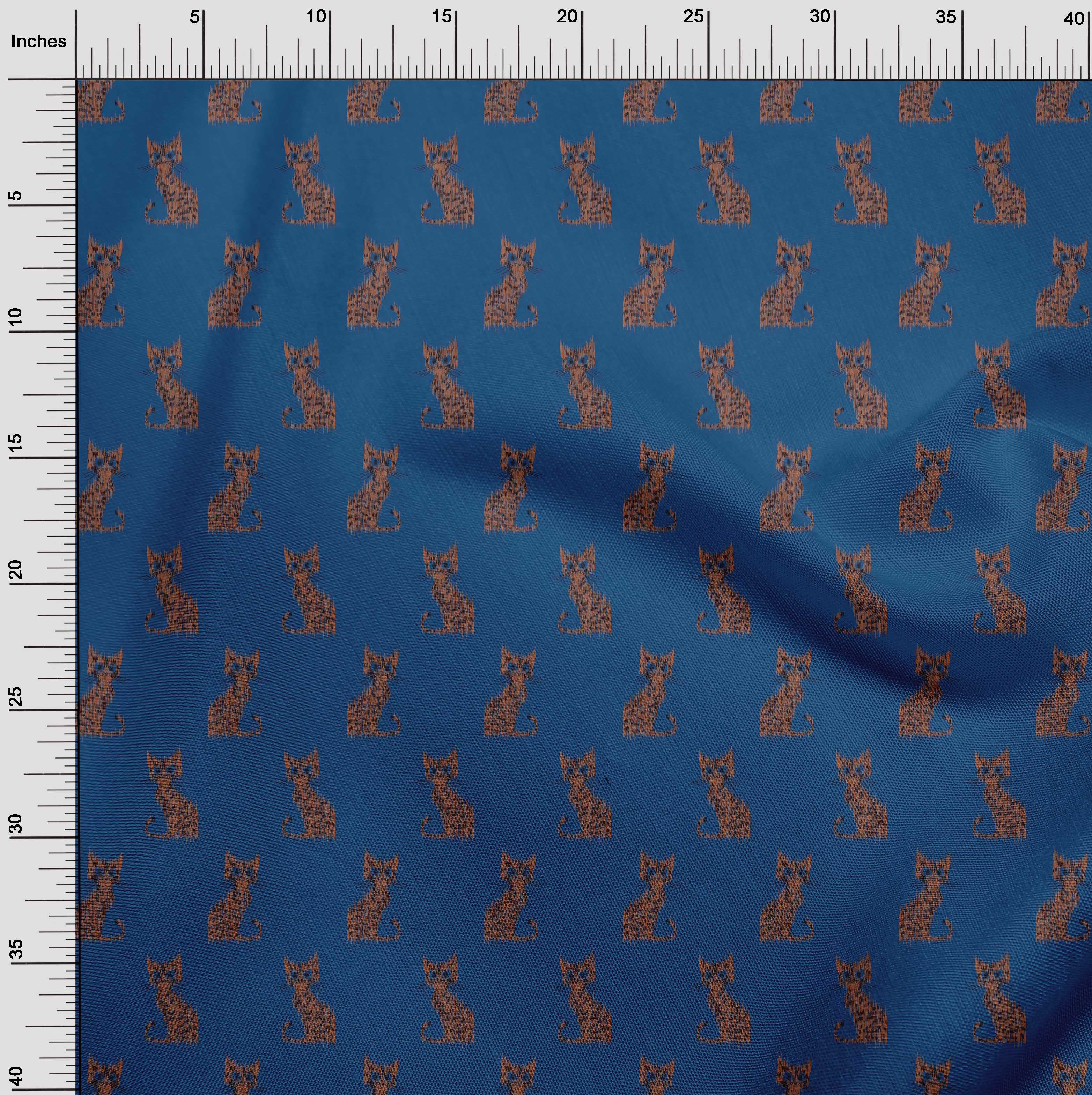 oneOone-Katze-Ikat-Printed-Craft-Fabric-By-The-Meter-IK-1203A-1 Indexbild 4