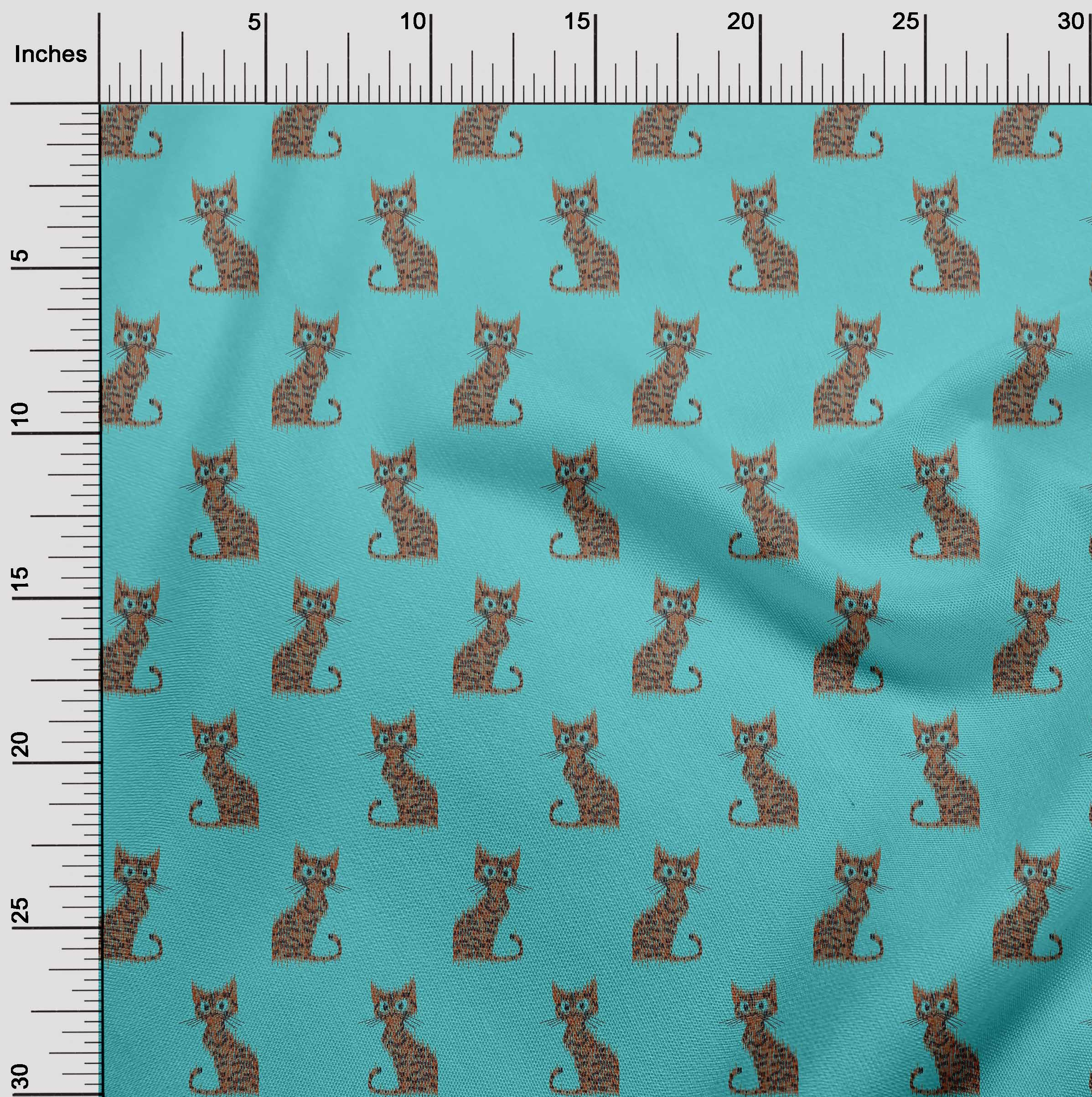 oneOone-Katze-Ikat-Printed-Craft-Fabric-By-The-Meter-IK-1203A-1 Indexbild 21